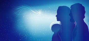 Escena moderna de la natividad de la Navidad Perfiles azules de la silueta con el bebé Jesús - José y Maria Exposición múltiple stock de ilustración
