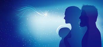 Escena moderna de la natividad de la Navidad Perfiles azules de la silueta con José - Maria y el bebé Jesús Exposición múltiple ilustración del vector