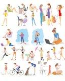 Escena moderna de la vida de las muchachas stock de ilustración