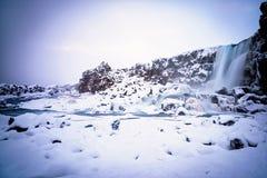 Escena nevada en el parque nacional de Thingvellir Fotografía de archivo libre de regalías