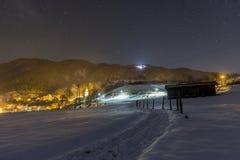 Escena nevosa de la noche en el valle de Tuhinj, Eslovenia Fotos de archivo libres de regalías