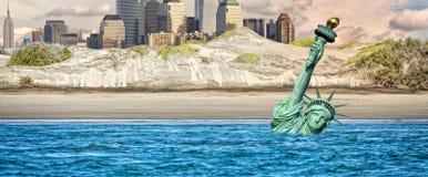Escena nuclear de la apocalipsis de New York Post Imágenes de archivo libres de regalías