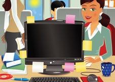Escena ocupada de la oficina Ilustración del Vector