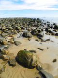 Escena pacífica de la playa de la línea de la playa rocosa Imagenes de archivo