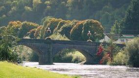 Escena pacífica del puente sobre el río con el paso de los vehículos metrajes