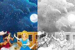 Escena para diversos cuentos de hadas - chica joven de la historieta vistió maravillosamente ir a alguna bola - muchacha hermosa  Imágenes de archivo libres de regalías