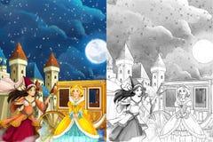 Escena para diversos cuentos de hadas - chica joven de la historieta vistió maravillosamente ir a alguna bola - muchacha hermosa  Fotos de archivo