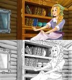Escena para diversos cuentos de hadas - chica joven de la historieta vistió sucio - baile en el cuarto - con la página adicional  Fotos de archivo