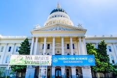 Escena a partir del marzo para la ciencia 2018 que ocurre en Sacramento, California Imagen de archivo
