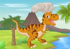 Escena prehistórica con la historieta del tiranosaurio Imágenes de archivo libres de regalías