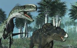Escena prehistórica con los dinosaurios Imagen de archivo libre de regalías