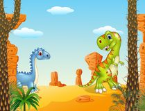 Escena prehistórica con el sistema divertido de la colección del dinosaurio Imágenes de archivo libres de regalías