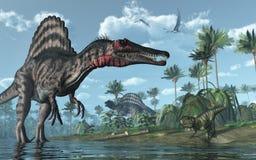 Escena prehistórica con los dinosaurios Imágenes de archivo libres de regalías