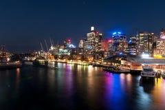 Escena querida de la noche del puerto Foto de archivo