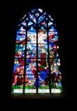 Escena religiosa Vidrio-Medieval manchada Foto de archivo libre de regalías