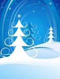 Escena rizada de los árboles de navidad Foto de archivo libre de regalías
