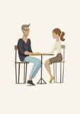 Escena romántica con un par en amor Hombre joven y mujer en la tabla Ilustración del vector ilustración del vector