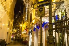 Escena Roma de la calle de la Navidad Imágenes de archivo libres de regalías