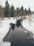 Escena rural del invierno con niebla y efecto congelado del vintage del río Fotografía de archivo