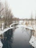 Escena rural del invierno con niebla y efecto congelado del vintage del río Foto de archivo libre de regalías
