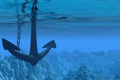Escena subacuática con el ancla Foto de archivo libre de regalías