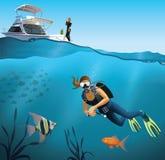 Escena subacuática del mundo y del salto Fotos de archivo