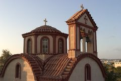 Escena típica de la isla griega de Santorini Fotografía de archivo libre de regalías