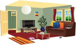 Escena típica de la sala de estar Ilustración del Vector