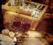 Escena Textured de la comida campestre. Fotografía de archivo