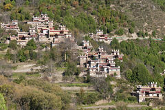 Escena tibetana de la aldea Imagen de archivo