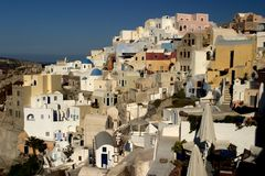 Escena típica de la isla griega de Santorini Fotografía de archivo
