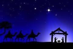 Escena tradicional de Christian Christmas Nativity con los tres wi Imagen de archivo libre de regalías