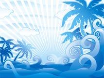 Escena tropical azul ilustración del vector
