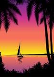Escena tropical con el barco de vela Imagen de archivo libre de regalías