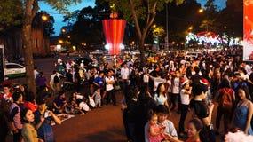 Escena urbana apretada, día de fiesta de Vietnam Foto de archivo