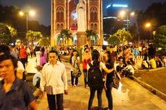 Escena urbana apretada, día de fiesta de Vietnam Imagen de archivo libre de regalías