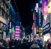 Escena urbana coreana en la noche en Año Nuevo Fotografía de archivo libre de regalías