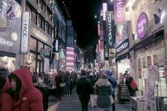 Escena urbana coreana en la noche en Año Nuevo Fotos de archivo libres de regalías