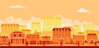 Escena urbana de la avenida con las casas urbanas elegantes libre illustration