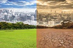 Escena urbana que muestra el efecto del cambio de clima del ambiente Foto de archivo libre de regalías