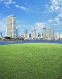 Escena vacía del campo de hierba verde con vagos de la torre de la ciudad y del cielo azul Imagen de archivo libre de regalías