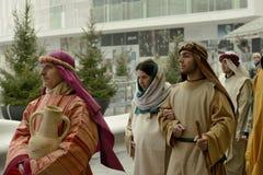 Escena viva de la natividad en el eje del asunto, Milano, #09 Fotos de archivo libres de regalías