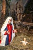 Escena viva de la natividad jugada por los habitantes locales Reconstrucción de la vida de Jesús con los artes antiguos y aduanas Fotografía de archivo libre de regalías