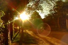 Escenario de la puesta del sol con las chispas amarillas fotos de archivo