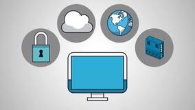 Escenas de la animación de la tecnología de ordenadores de la nube HD libre illustration
