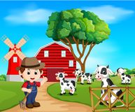 Escenas de la granja con muchos animales y granjeros ilustración del vector