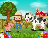 Escenas de la granja con muchos animales y granjeros stock de ilustración