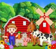 Escenas de la granja con muchos animales y granjeros libre illustration