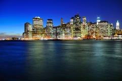 Escenas de la noche de Manhattan Imagenes de archivo