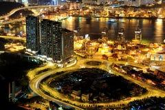 Escenas de la noche de Tsing Yi fotos de archivo